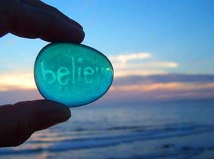 Believe image on stone